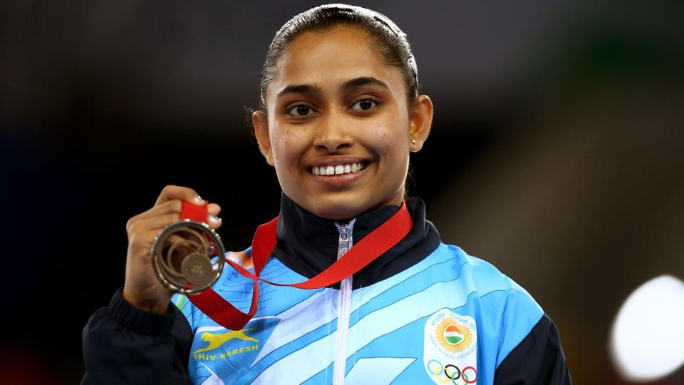 Dipa Karmakar of India poses during the medal ceremony for the Women's Vault Final.