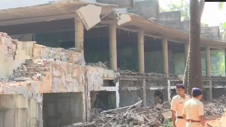 Authorities continue demolition of PNB scam accused Nirav Modi's bungalow in Alibag, Raigad district.