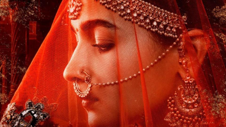 Image result for Madhuri, Sonakshi, Alia go red for 'Kalank'