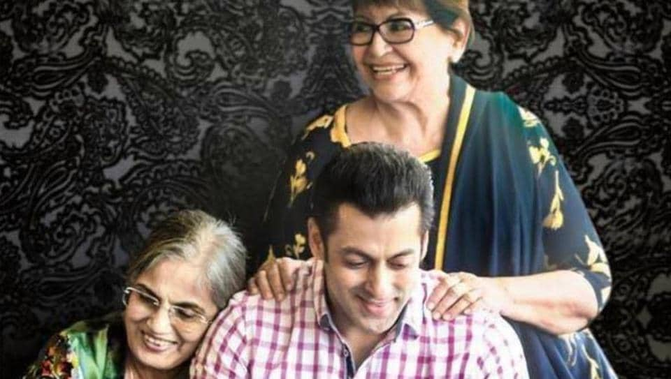 Salman Khan in a throwback picture with mother Salma and step-mother Helen.