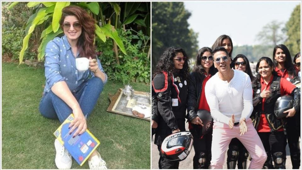 Twinkle Khanna and Akshay Kumar celebrated Women's Day with biker women and books.
