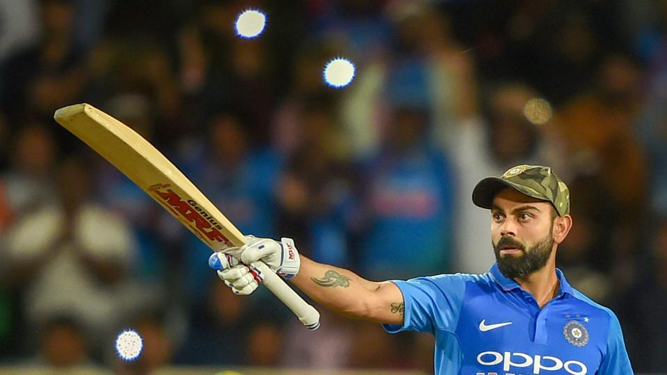 Virat Kohli acknowledges the crowd after his century.  (PTI)
