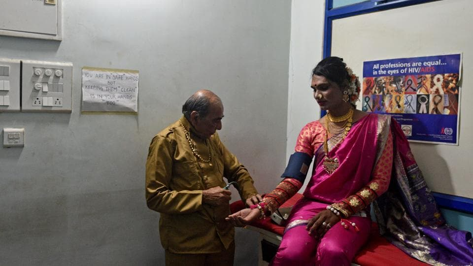 A patient gets tested at India's first holistic LGBTQ clinic and community-based HIV clinic at Humsafar Trust, Santacruz, Mumbai, on Thursday, March 7, 2019.