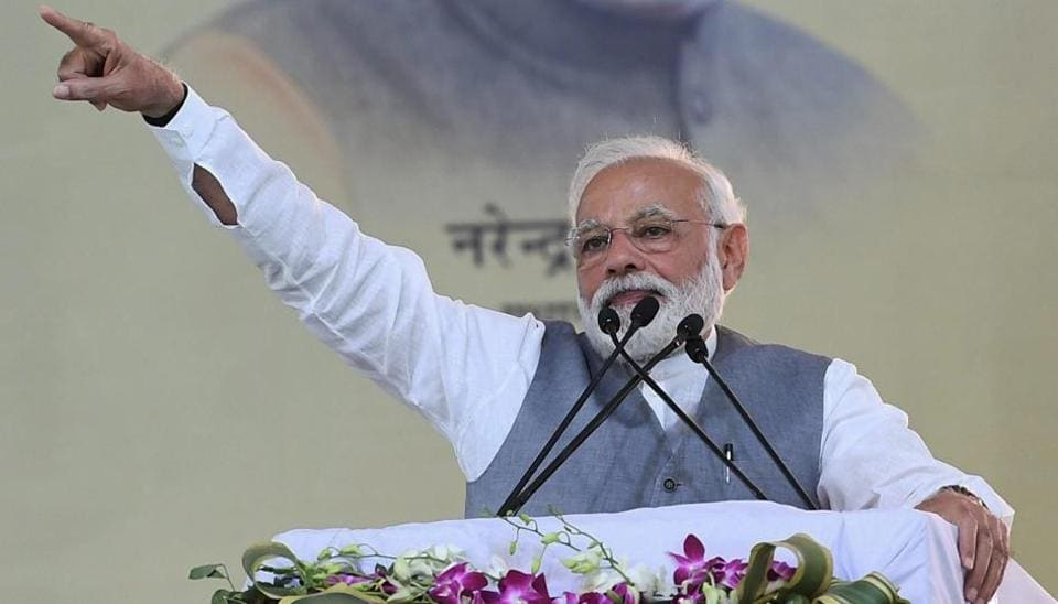 Prime Minister Narendra Modi addresses a public rally, in Ghaziabad, Friday, March 8, 2019.
