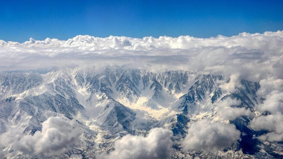 An aerial view of snow-covered mountains of Kashmir after snowfall, near Srinagar, Jammu and Kashmir. (PTI)