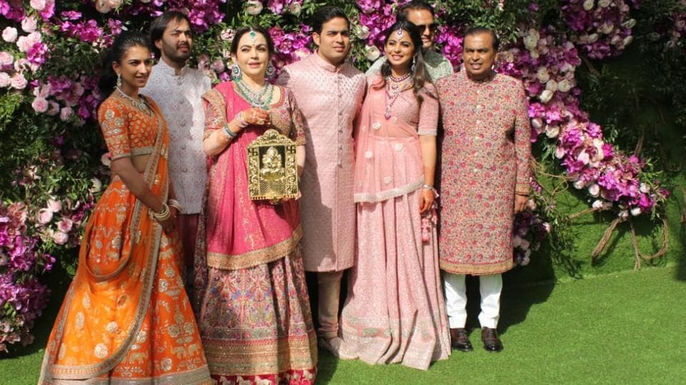 The Ambani family spotted together at the wedding celebrations