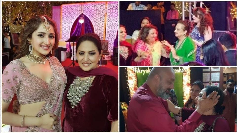 Sayyeshaa Sehgal at her wedding bash with guests and family.