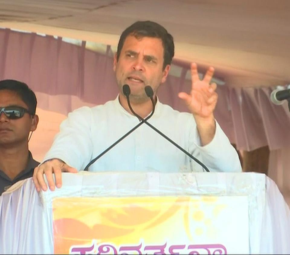 Karnataka, March 09 (ANI): Congress President Rahul Gandhi addressing at a public meeting in Haveri on Saturday.