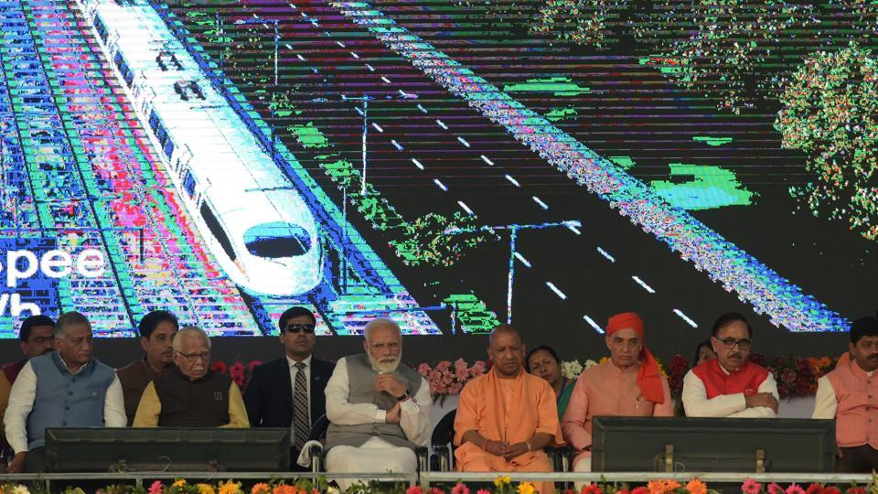 Prime Minister Narendra Modi at the inauguration of Dilshad Garden-New Bus Adda section, an extension of the Delhi Metro's Red Line, in Ghaziabad,  on Friday.
