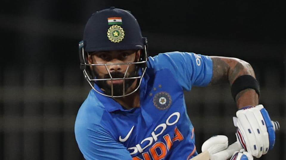 India's captain Virat Kohli bats during the third one day international cricket match between India and Australia in Ranchi.
