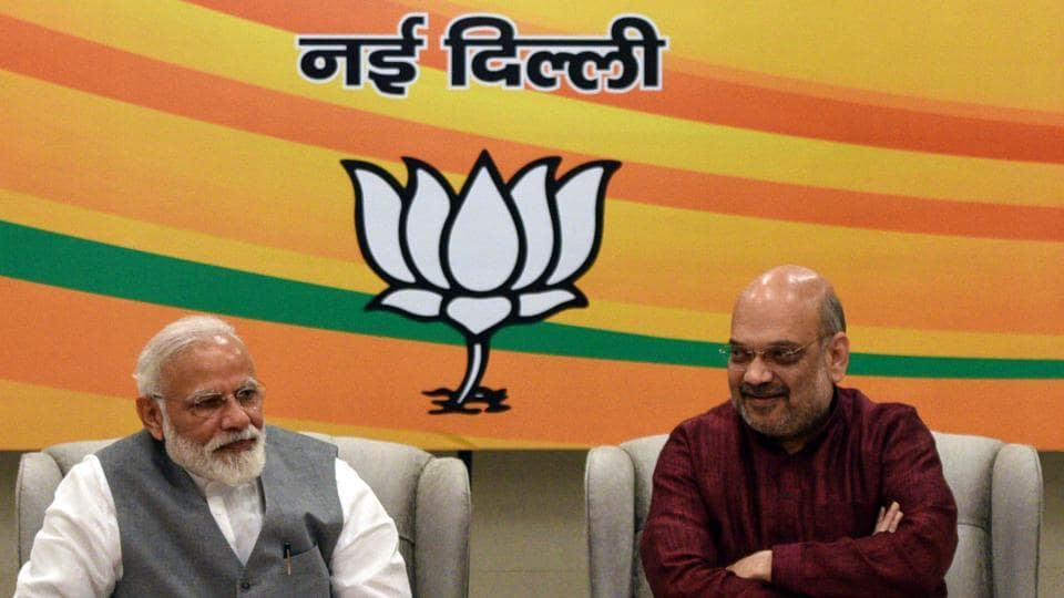 Prime Minister Narendra Modi and BJP national president Amit Shah attend the parliamentary board meeting at the BJP HQ office in New Delhi on March 8.