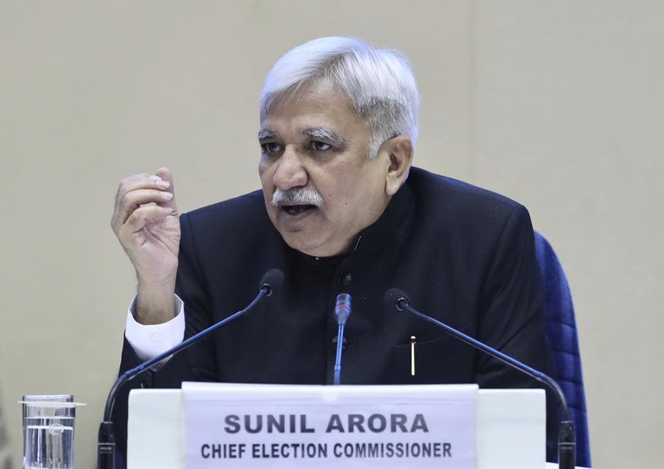 Election Commissioner of India Sunil Arora announced that the upcoming national election will be held in seven phases in April and May.