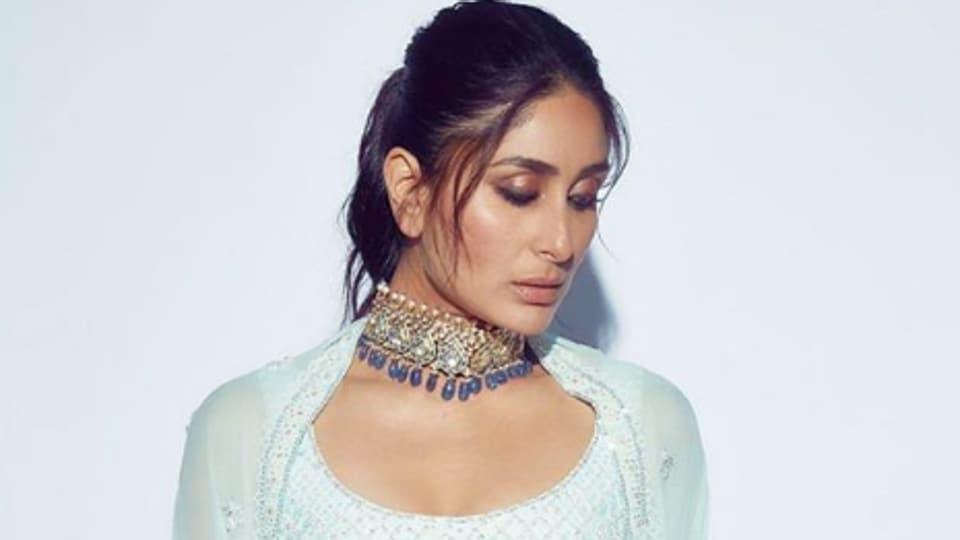 Kareena Kapoor Khan in an aqua blue embroidered Manish Malhotra lehenga at the Ambani reception.