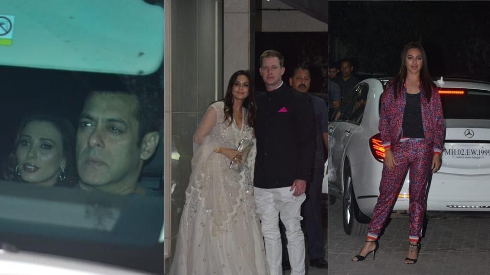 Salman Khan with Iulia Vantur, Preity Zinta with husband Gene Goodenough and Sonakshi Sinha at Sohail Khan's bash.