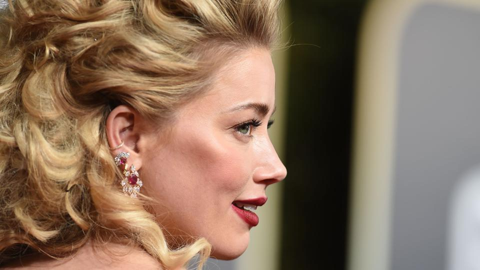 Amber Heard arrives for the 76th annual Golden Globe Awards on January 6, 2019.