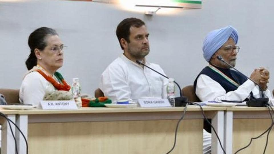 Congress president Rahul Gandhi with senior leaders Sonia Gandhi and Manmohan Singh at the Congress Working Committee meeting in Ahmedabad, Gujarat on Tuesday.