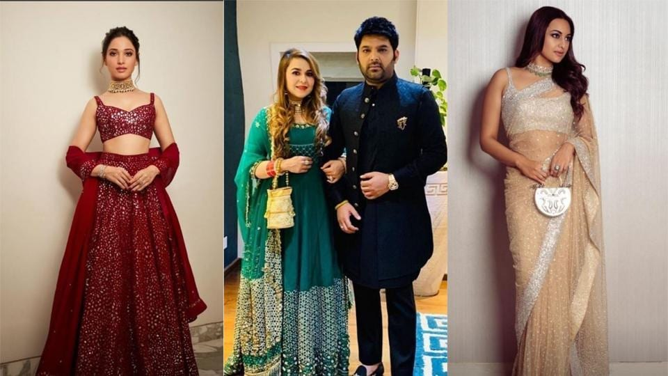 Tamannaah Bhatia, Kapil Sharma with wife Ginni Chatrath and Sonakshi Sinha at Akash Ambani and Shloka Mehta's second wedding reception in Mumbai.