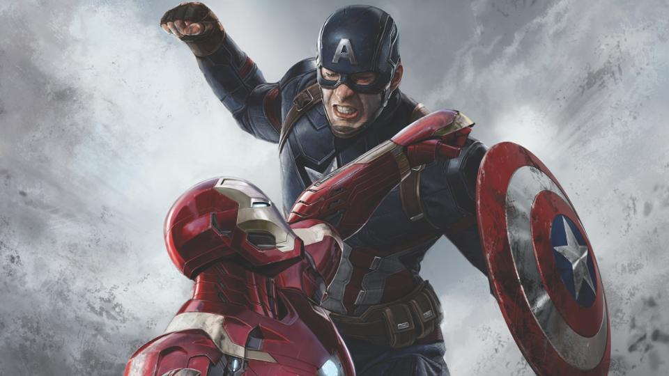 Iron Man, Captain America in a promotional image from Captain America: Civil War.