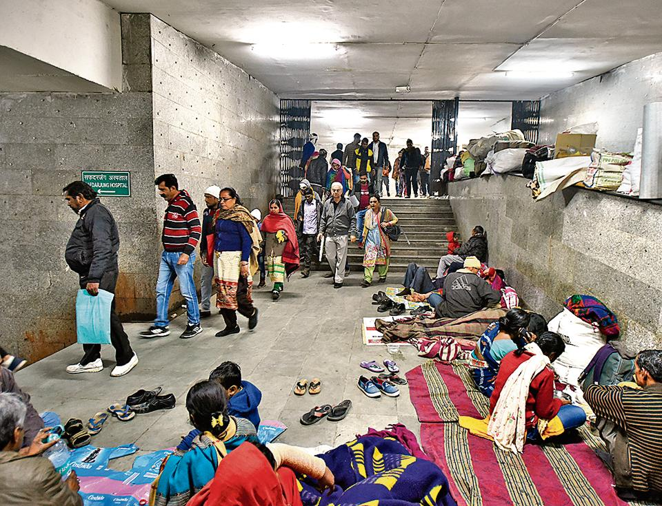 Pushed out of pavements, patients and their families have come to occupy the subway outside AIIMS.