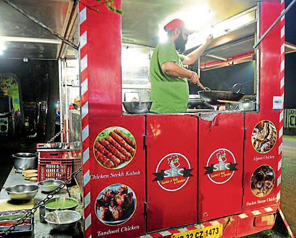 Jaspreet Singh, a hotel management graduate, runs a food van in Aliganj area and even employs two helpers.