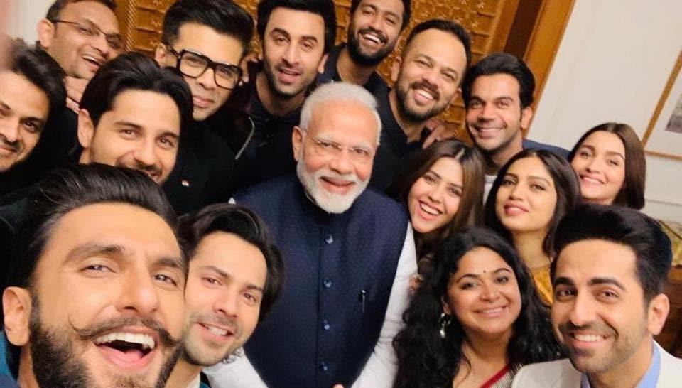 PMNarendra Modi with a contingent of Bollywood actors and filmmakers in Delhi.