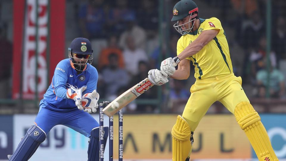 Marcus Stoinis plays a shot during the final one day international cricket match between India and Australia.