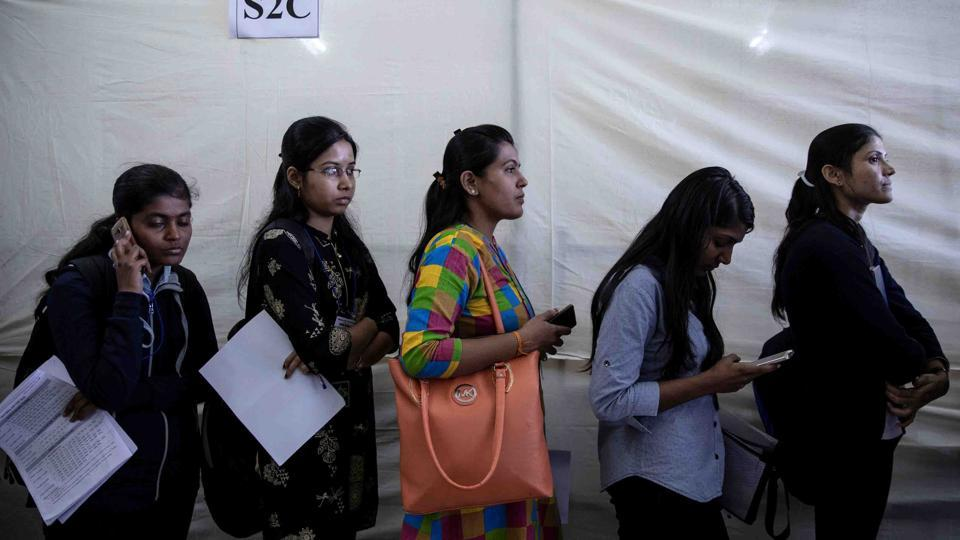 Job seekers wait in a queue for interviews at a job fair in Chinchwad, Maharashtra. India's unemployment rate rose to 7.2% last month, up from 5.9% in February 2018, according to data compiled by the Centre for Monitoring Indian Economy (CMIE) think tank. The figures are more recent than government data and many economists regard them as more credible. (Danish Siddiqui / REUTERS)