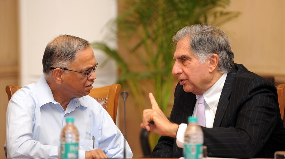 Changing business: Former chairman of Tata Sons Ratan Tata (R) and Infosys Founder-Chairman Narayana Murthy in a picture taken on  August 1, 2012.