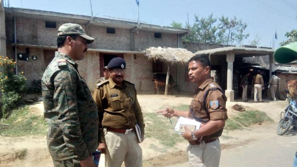 Police officials investigating after a murder by eve teasers at Haidernagar in Palamu