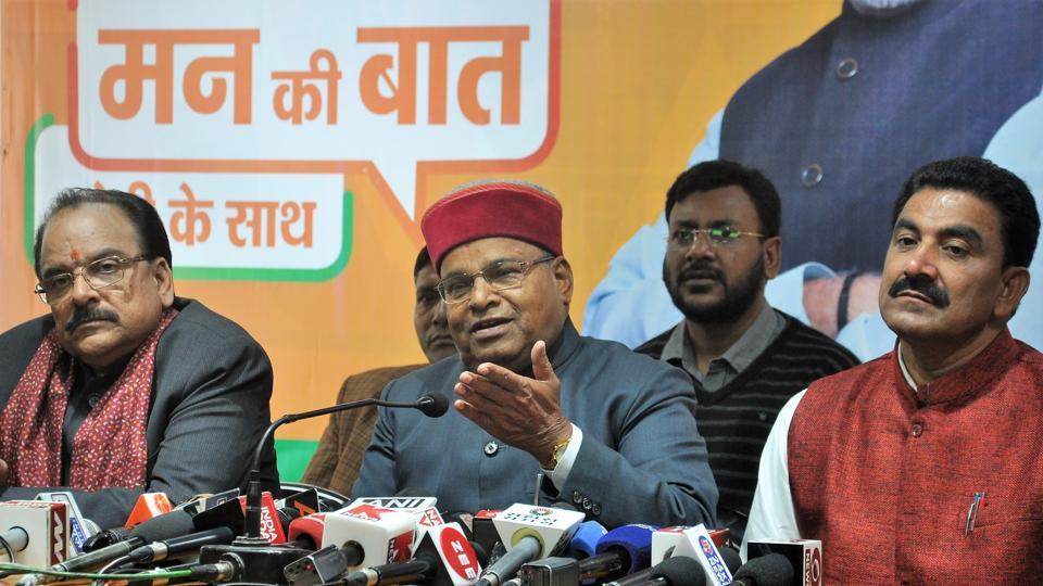 Union social justice and empowerment minister Thawar Chand Gehlot (right) and BJP state president Ajay Bhatt (left) address a press conference in Dehradun on Wednesday.