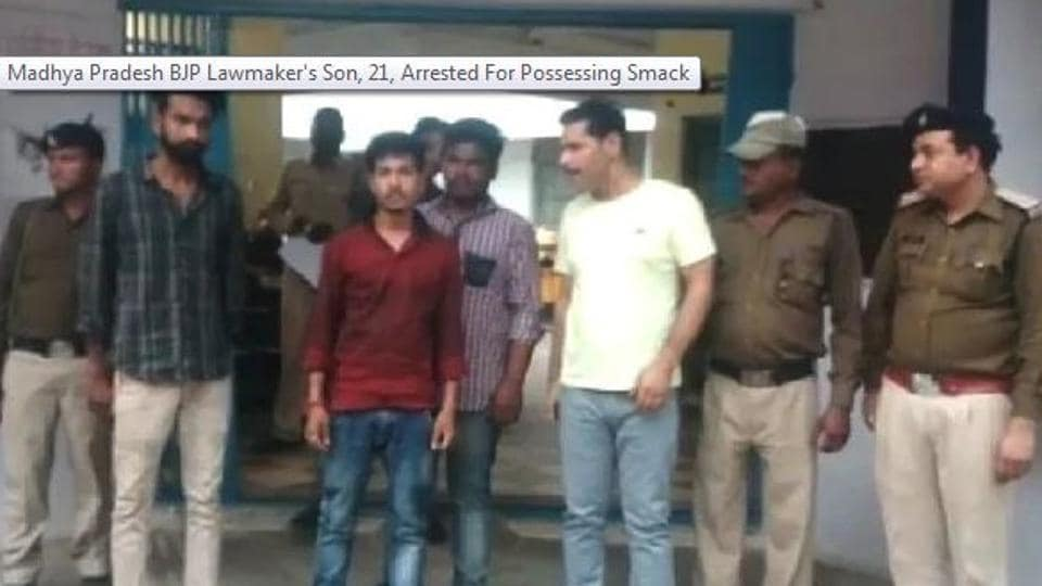 BJP MP Sampatiya Uike's 21-year-old son and two others have been arrested here for allegedly possessing smack