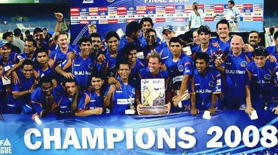 Rajasthan Royals team with the IPL trophy after beating Chennai Super Kings in the final of the 2008 event.