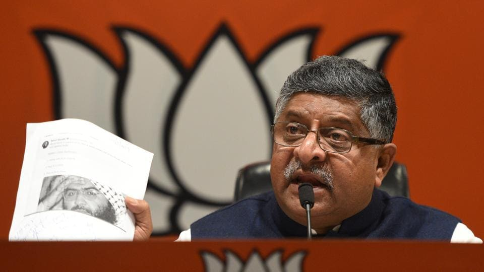Bharatiya Janata Party senior leader Ravi Shankar Prasad  speaks to media during a press conference at BJP headquarters, in New Delhi. Prasad cited a 2004-article published in The Hindu to claim that Nehru had declined a US offer to take a permanent seat on the UNSC. The Union minister also quoted senior Congress leader Shashi Tharoor to state that Nehru suggested the name of China for the UNSC seat then held by Taiwan. (Sonu Mehta / HT Photo)