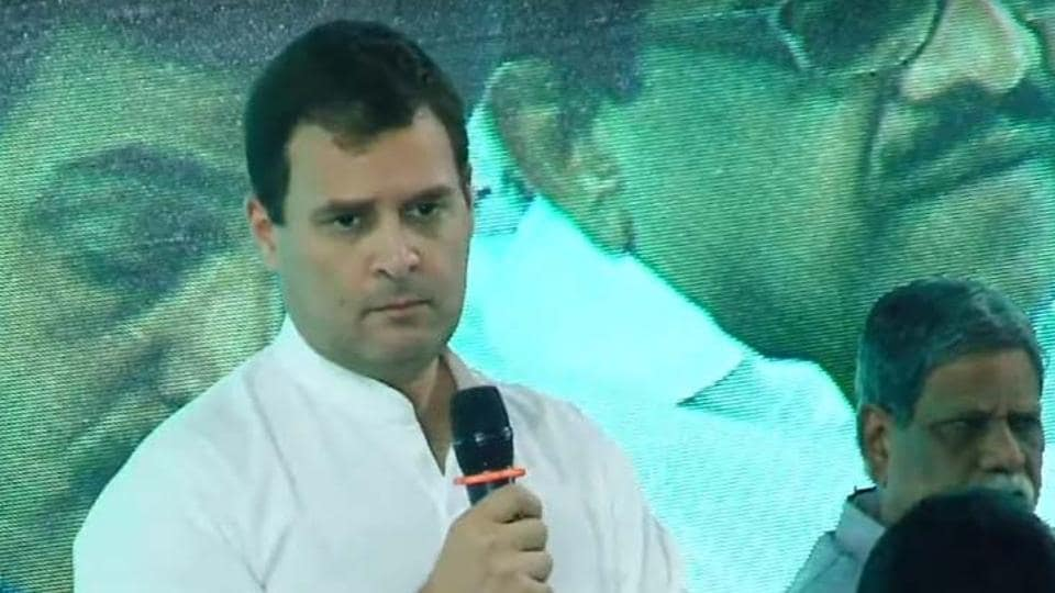 Congress president Rahul Gandhi addressing a gathering in Thrissur in Kerala.