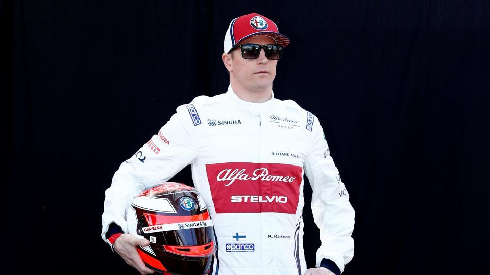 Alfa Romeo's Kimi Raikkonen poses for a photo ahead of Australian GP.