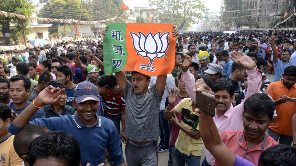 Supporters of the BJP in Agartala.