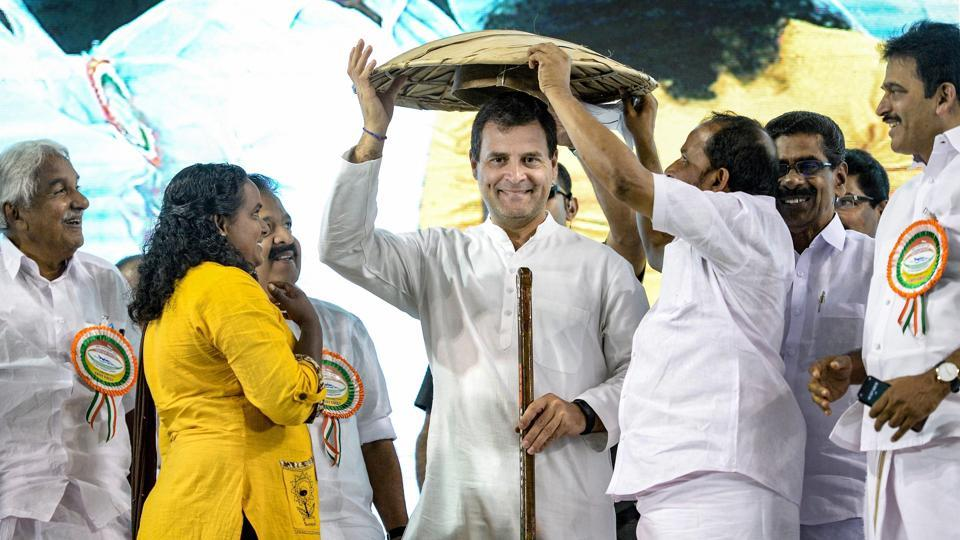 "Congress President Rahul Gandhi is felicitated during an event to address 'fishermen's parliament', at Triprayar in Thrissur. Gandhi hit out at Prime Minister Modi saying he was scared of Chinese President Xi Jinping. He said the prime minister ""swings"" with the Chinese president in his home state Gujarat but maintains silence after China blocks UNSC resolution against Masood Azhar. (PTI)"