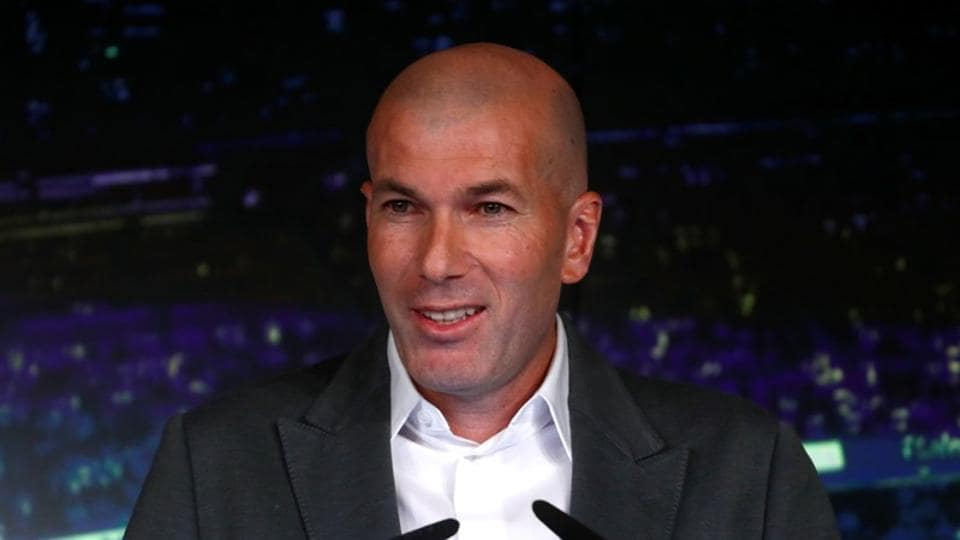 Real Madrid manager Zinedine Zidane during the press conference announcing his return to the club.