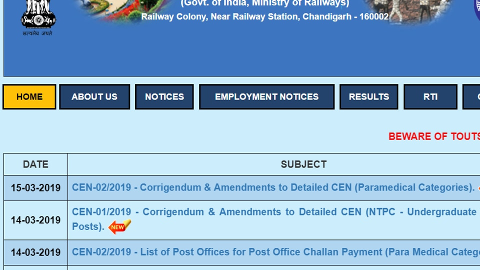 RRB NTPC Recruitment 2019: Read major changes in the notification