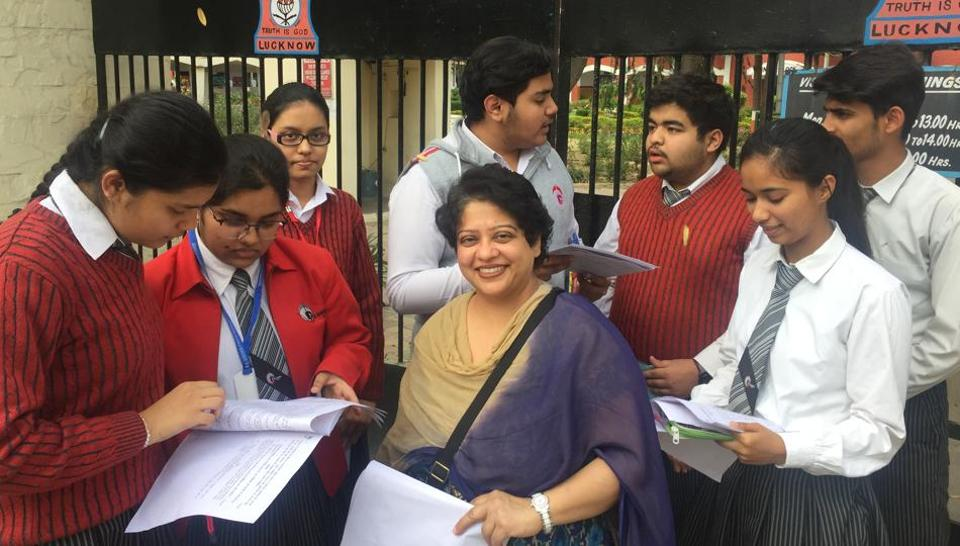 CBSE 12th Biology Paper Analysis 2019: Students of GD Goenka Public School, Lucknow discussing CBSE Class 12 Biology paper in Lucknow on Friday