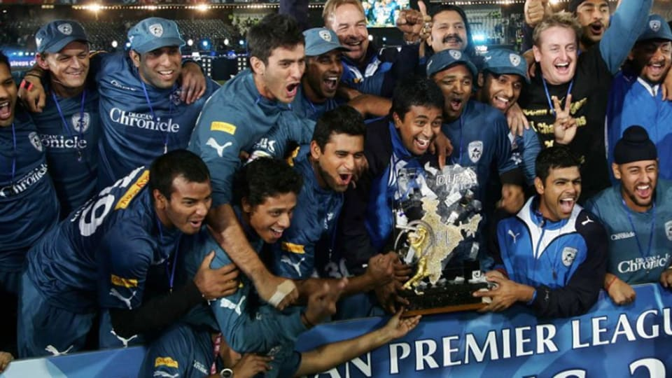 Adam Gilchrist's Deccan Chargers celebrate after winning the IPL in 2009.