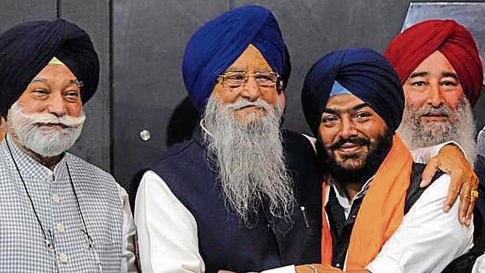 Youth Akali Dal leader Harsukhinder Singh 'Bubby' Badal joining SAD (Taksali) in the presence of party chief Ranjit Singh Brahmpura and Bir Devinder Singh in Chandigarh, March 14, 2019.