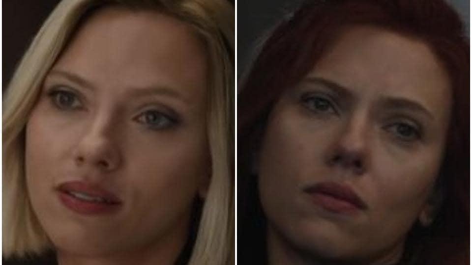 Scarlett Johansson as Black Widow in the Avengers Endgame trailers.