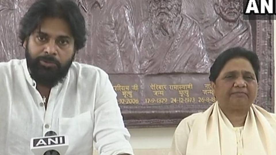 Jana Sena Party president Pawan Kalyan with Bahujan Samaj Party chief Mayawati at a press conference in Lucknow on Friday.