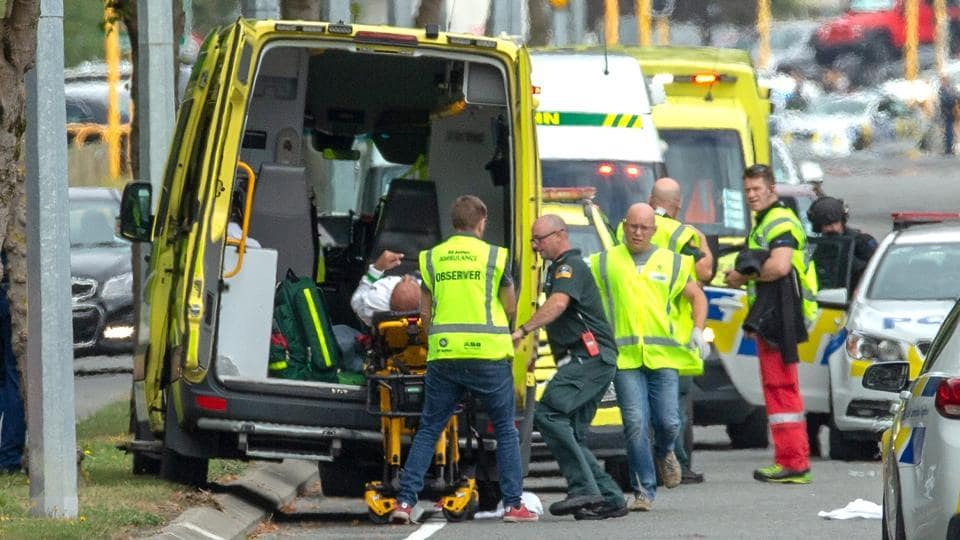 An injured person is loaded into an ambulance following a shooting at the Al Noor mosque in Christchurch, New Zealand. A gunman opened fire on Friday prayers at a mosque in New Zealand killing several worshippers and forcing the city of Christchurch into lockdown as police launched a massive manhunt. (Martin Hunter / SNPA / REUTERS)