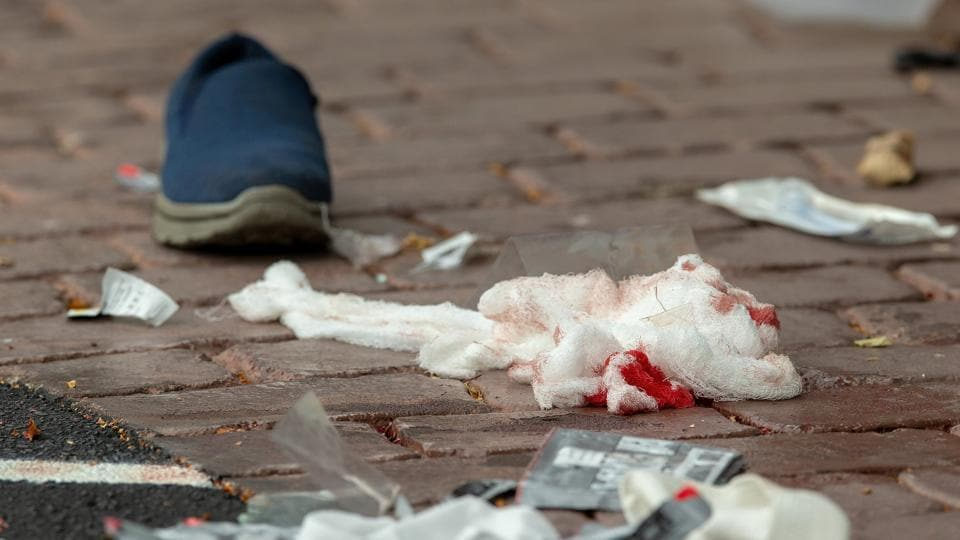 Bloodied bandages on the road following a shooting at the Al Noor mosque in Christchurch, New Zealand.