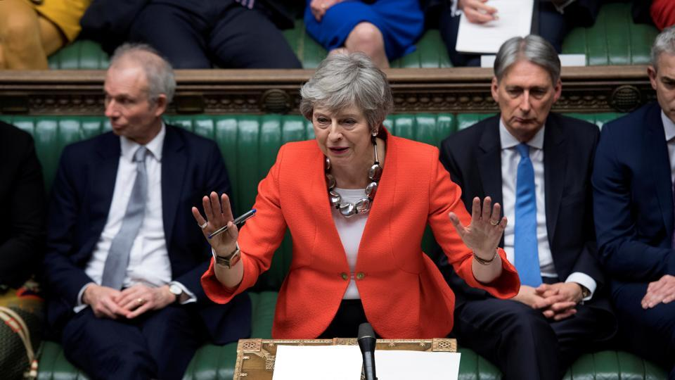 British Prime Minister Theresa May speaks in Parliament in London, England. (Handout / REUTERS)