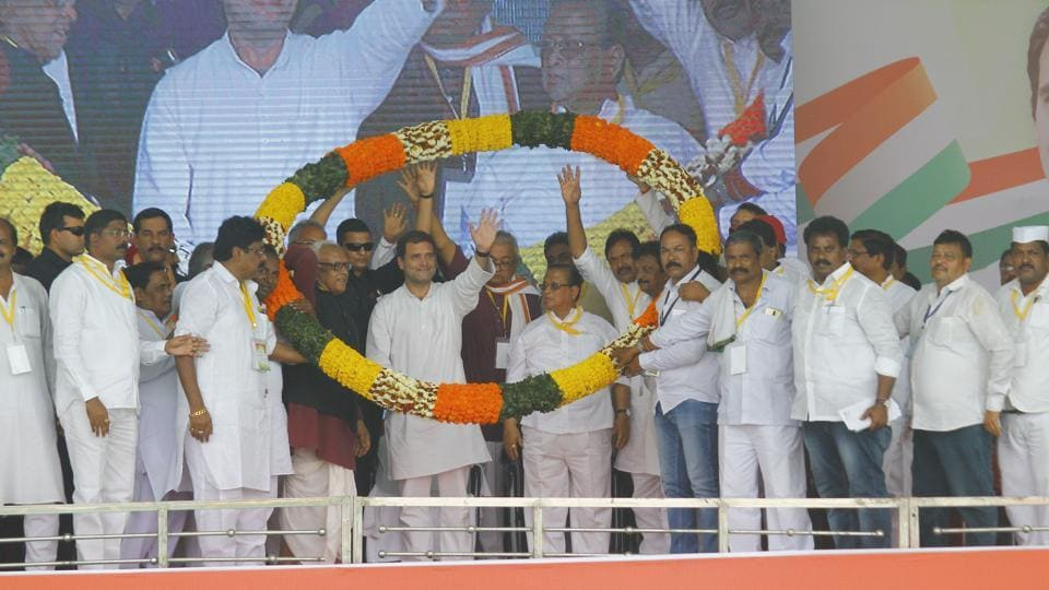 Congress President Rahul Gandhi being garlanded by party leaders at a public meeting in Sarsara, during his Odisha visit on Friday.