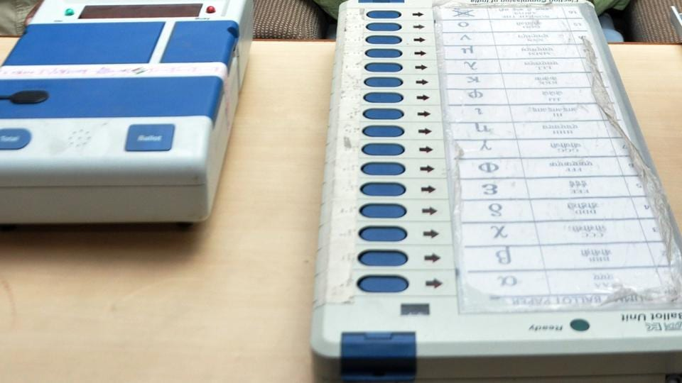An Electronic Voting Machine (EVM) and Voter verifiable paper audit trail (VVPAT), at the election commission office.