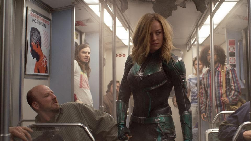 This image released by Disney-Marvel Studios shows Brie Larson in a scene from Captain Marvel
